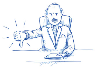 Business man, angry boss, sitting at his desk showing dislike, thumb down, hand drawn doodle vector illustration