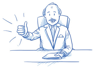 Business man, happy smiling boss, sitting at his desk showing like, thumbs up, hand drawn doodle vector illustration