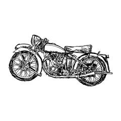 illustration vector doodle hand drawn of sketch retro military motorcycle
