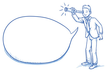 Business man looking through a telescope with a speech bubble, hand drawn doodle vector illustration