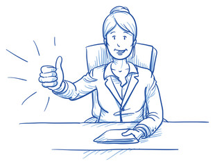 Business woman, happy smiling boss or customer, sitting at her desk showing like, thumbs up, hand drawn doodle vector illustration