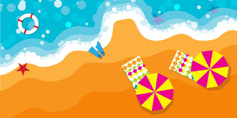 Summer vacation, time to travel, beach rest: sun, sea, waves, sand, umbrella, towel, starfish, lifebuoy. Vector background and objects illustrations.
