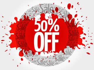 50% OFF word cloud, business concept background