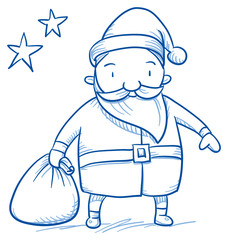 Cartoon Santa Clause for Christmas greeting Cards and invitations. Hand drawn doodle vector illustration.