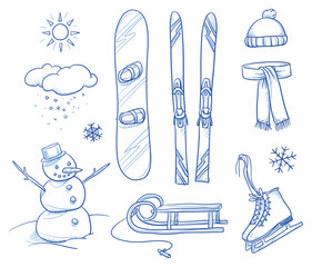 Icon set of ski & winter fun objects: snowman, snowboard, ski, slide, ice skates, hat, scarf. Hand drawn vector illustrationDruck