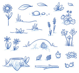 Set of landscape and nature background parts: stump, strawberries, nuts & cones, stones, hills, grass, leaves and flowers. Hand drawn vector illustration.