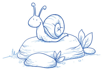 Cute little cartoon snail on a rock. For children or baby shower cards. Hand drawn vector illustration.