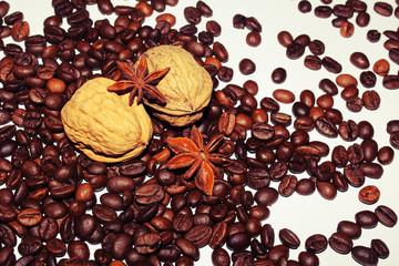 Walnüsse auf Kaffeebohnen im Lomo Style