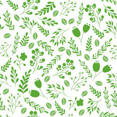 Floral seamless pattern with green garden plants and flowers