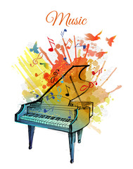 Watercolor vector illustration of Piano