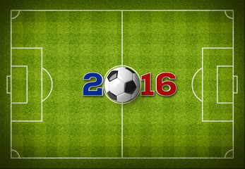 A soccer ball with 2016 text with a France flag colors on a top view of green stripped soccer filed with white lines.