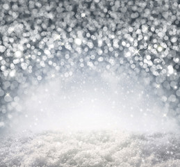 Silver Christmas Background and white snow.
