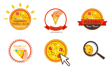 Pizzeria Restaurant Shop Design Element  for Logotype, Label, Badge, T-shirts and other design. Pizza retro vector illustration