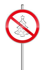 Christmas tree crossed out on a prohibition sign, as a symbol for xmas problems. Isolated vector illustration on white background.