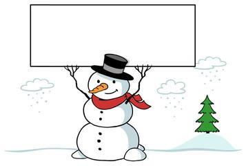 Schneemann im Winter hält leeres Schild
