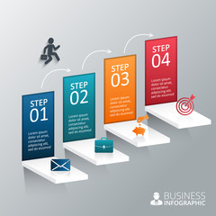 Vector illustration of the 4 steps to success.