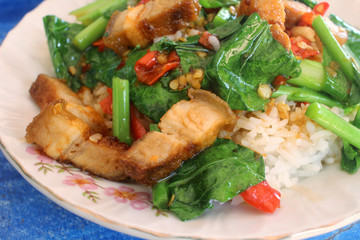 Fried pork and basil with rice