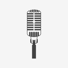 Retro microphone vector icon. Monochrome illustration.