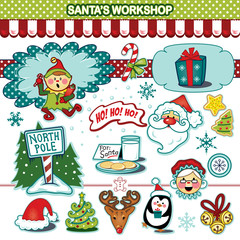 Santa's workshop Christmas holiday illustration collection