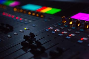 Close Up Shot Of Sounf Mixing Desk In Venue