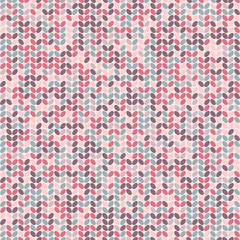 Vector pink and blue knitted seamless pattern