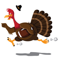 Running football Turkey Cartoon. EPS 10 vector with no open shapes, strokes or transparencies.