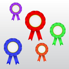Set of vector medals with ribbons. Template.