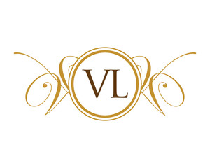 VL Luxury Ornament Initial logo