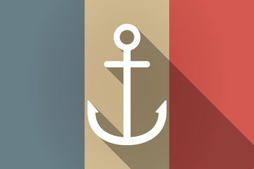 Long shadow flag of France vector icon with an anchor