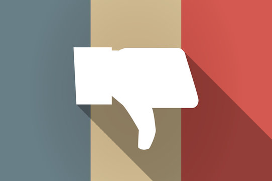 Long shadow flag of France vector icon with a thumb down hand
