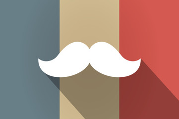 Long shadow flag of France vector icon with a moustache