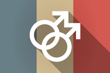 Long shadow flag of France vector icon with a gay sign
