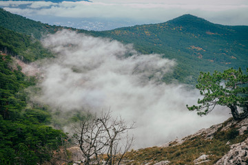 tops of mountains covered with clouds