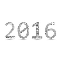 2016 Typographic font on white background
