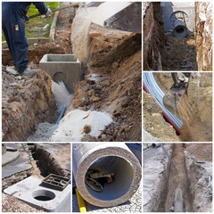 Collage excavation work with excavator to create a new sewer system in a city