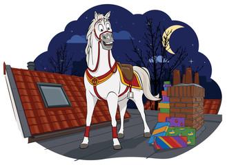 Amerigo, het paard van Sinterklaas op een dak met cadeaus.