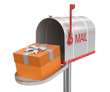 Open mailbox with gift (clipping path included)