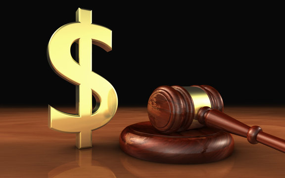 Law And Money Symbol Cost Of Justice Concept