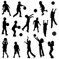 various kids in silhouettes playing basketball