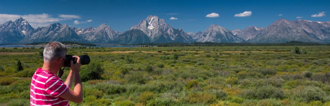 Photographer in Grand Teton National Park, Wyoming