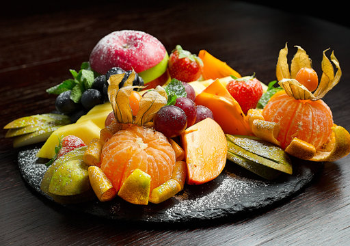 Beautifully decorated catering banquet table with different fruits