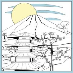 Japanese illustration with mountain, sakura and temple.