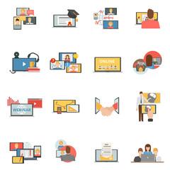 Web collaboration webinar flat icons set