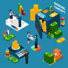 Banking  Isometric Design Concept set