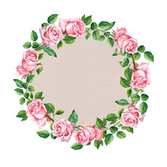 Rose flower wreath. Floral circle border. Watercolour