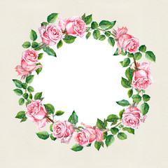 Rose flower wreath. Floral circle border. Water colour