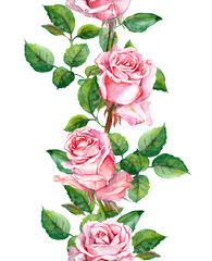 Watercolor pink rose flowers repeated border frame