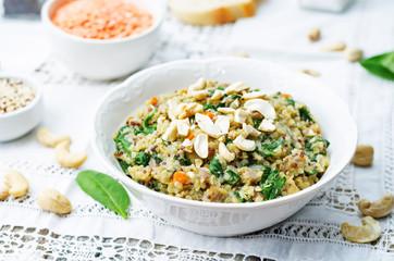 lentils mushroom spinach quinoa