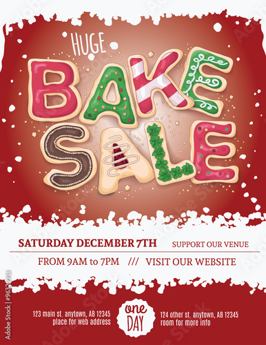 Christmas Bake Sale Flyer Template With Hand Drawn Cookie Letters On
