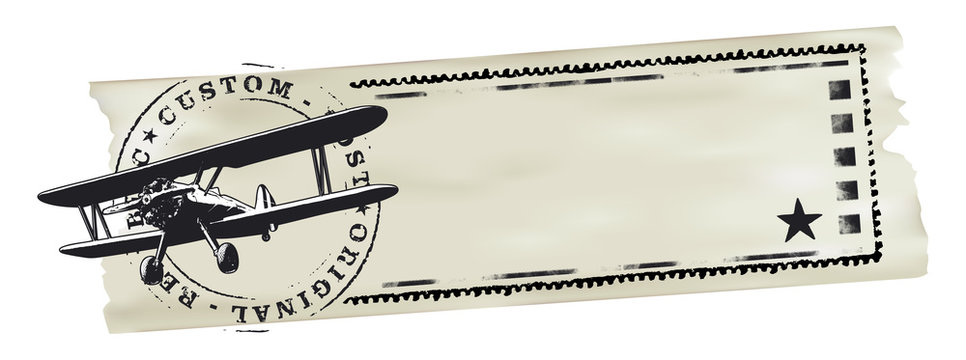 air mail stamp with world map and paper banner with copy space